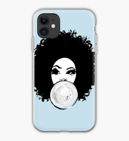 Curly Afro  Pretty Girl Bubble Gum Poppin Natural Hair Art iPhone Case