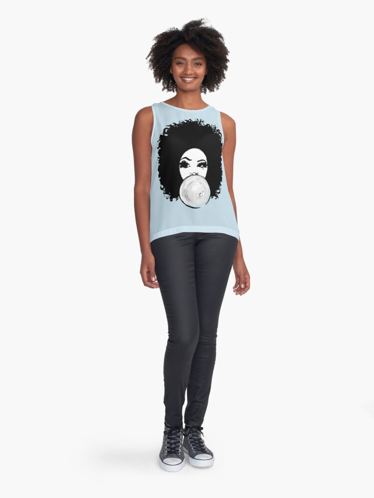 Alternate view of Curly Afro  Pretty Girl Bubble Gum Poppin Natural Hair Art Sleeveless Top