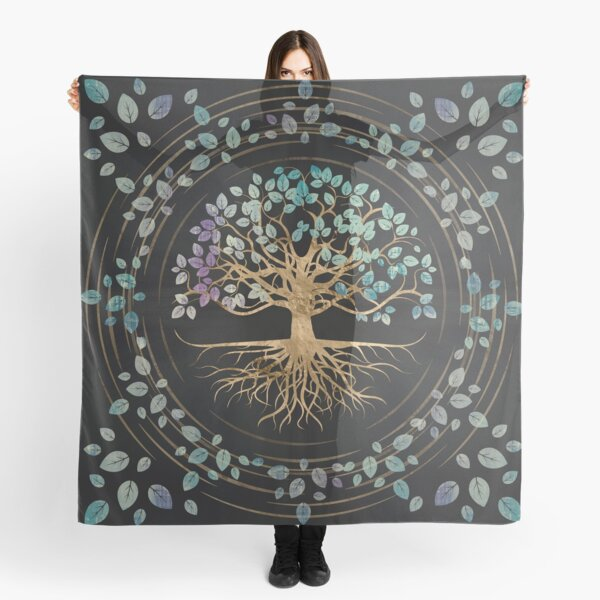 Tree of life - Yggdrasil - Gold and Painted Texture Scarf