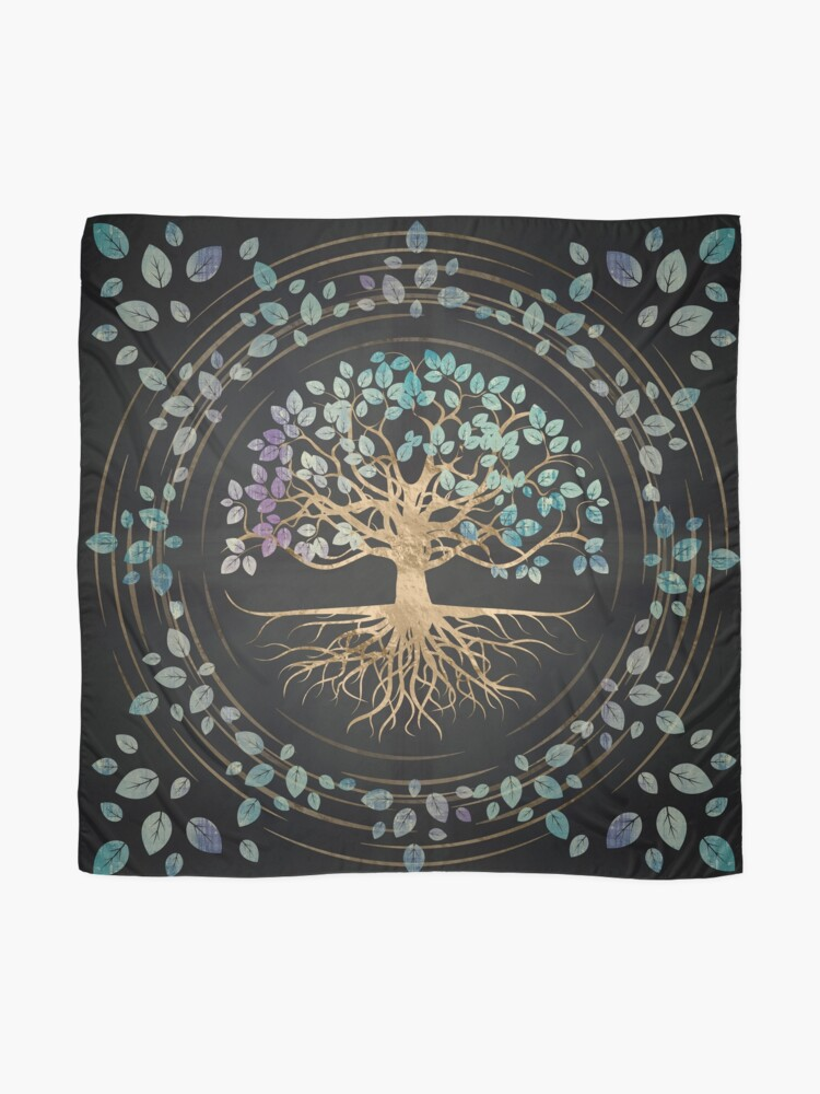 Alternate view of Tree of life - Yggdrasil - Gold and Painted Texture Scarf