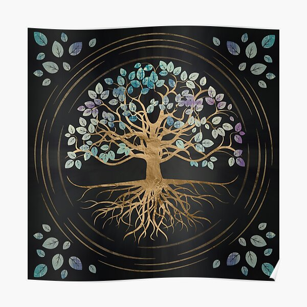 Tree of life - Yggdrasil - Gold and Painted Texture Poster