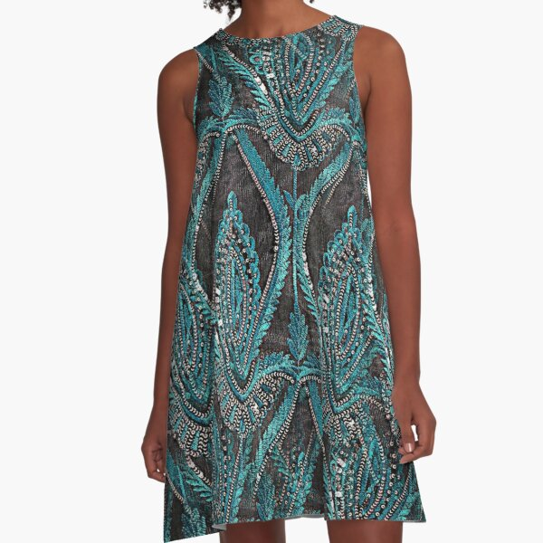 aBlack and turquise pattern A-Line Dress