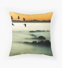 Birds over water Throw Pillow