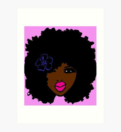 Brown Skin Afro Curly Natural Hair Flower Girl Pink Lipstick Art Print