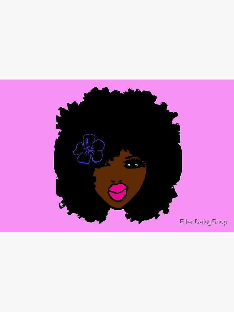 Brown Skin Afro Curly Natural Hair Flower Girl Pink Lipstick by EllenDaisyShop