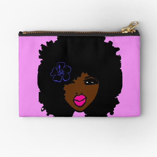 Brown Skin Afro Curly Natural Hair Flower Girl Pink Lipstick Zipper Pouch