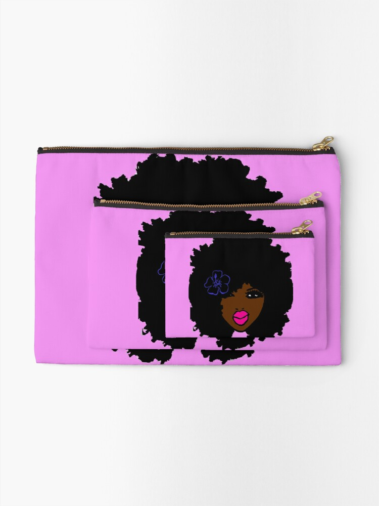 Alternate view of Brown Skin Afro Curly Natural Hair Flower Girl Pink Lipstick Zipper Pouch