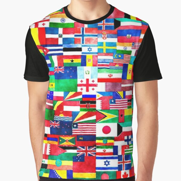 International Flags Collage Graphic T-Shirt