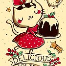 Cat with Christmas Pudding by monikasuska