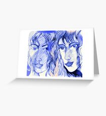 A Drawing of Imaginary Women #2 – In Electric Blue With Touches of Peach Greeting Card