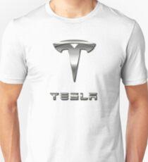 Tesla logo gray with white background Unisex T-Shirt