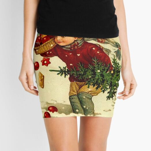 CHRISTMAS; Vintage Country Scene Print Mini Skirt