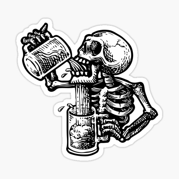 Drunk skull Sticker