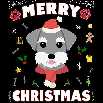 Schnauzer Ugly Christmas Sweater Merry Xmas Funny Dog Lover by JapaneseInkArt