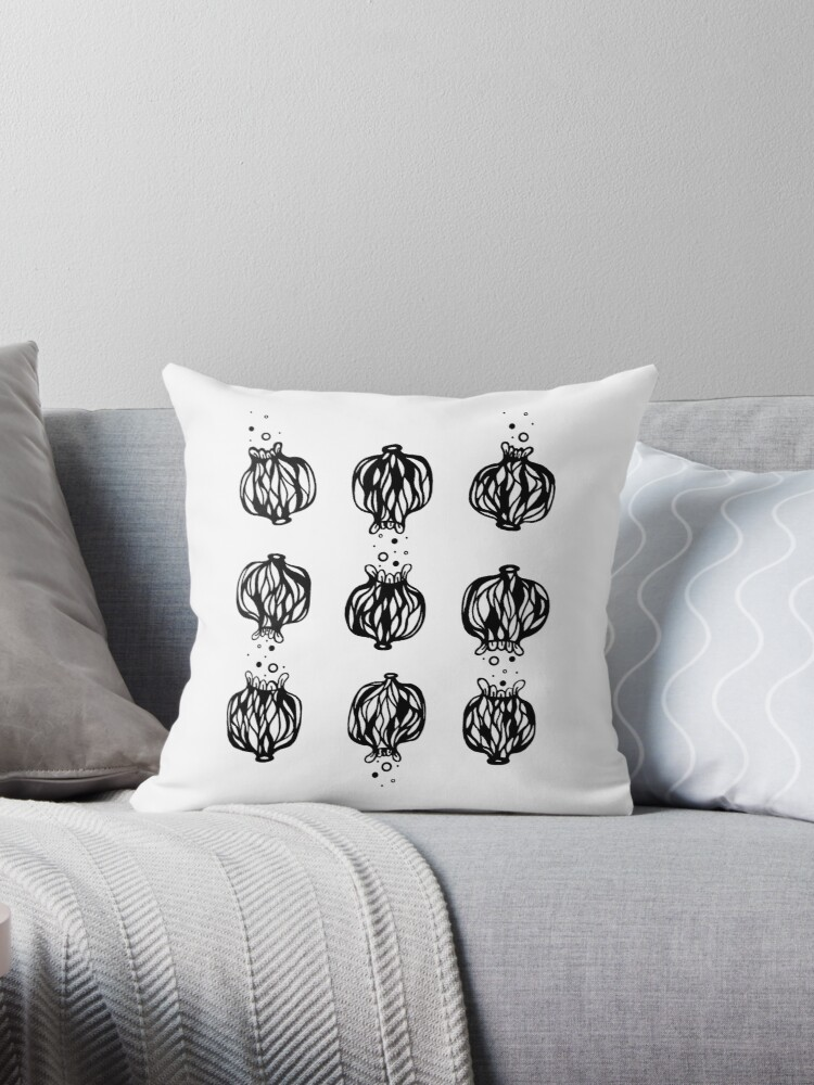Black And White Poppy Seed Head Design Throw Pillow By Katietagg
