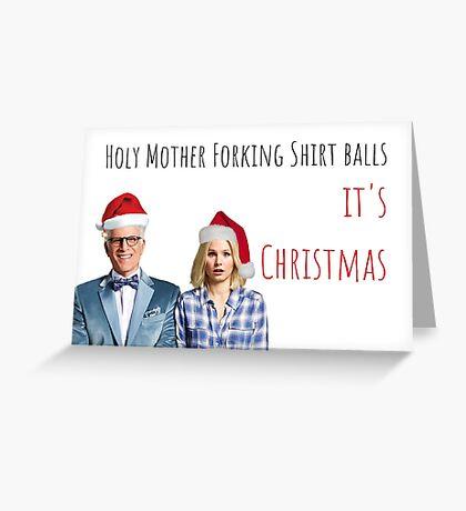 La tarjeta de Navidad de Good Place, Eleanor Shellstrop, Chidi, Janet, Jason Mendoza, Michael, Vicky, Bambadjan, Tahani, Meme tarjetas de felicitación Tarjeta de felicitación