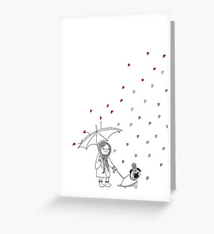 Love walking in the rain Greeting Card