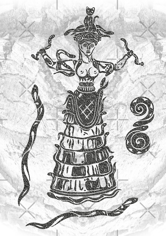 Göttin der Schlangen mit Katze.  von Christine Krahl