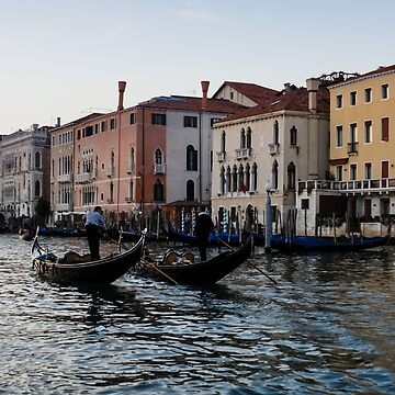 Venice, Italy - Glossy Water Gondola Pair on Canalazzo the Grand Canal by GeorgiaM