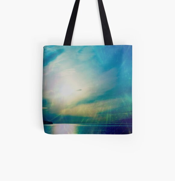 Blue Green Tranquility All Over Print Tote Bag