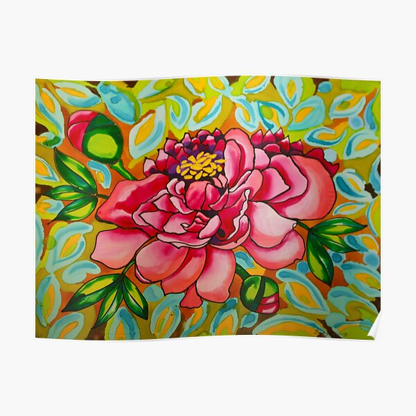 Pink & Peach Peony Belize Poster