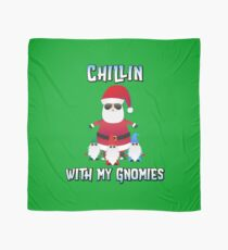 Santa Chillin with My Gnomies Christmas Shirt Scarf