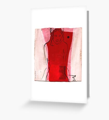 woman in the wind 1 Greeting Card