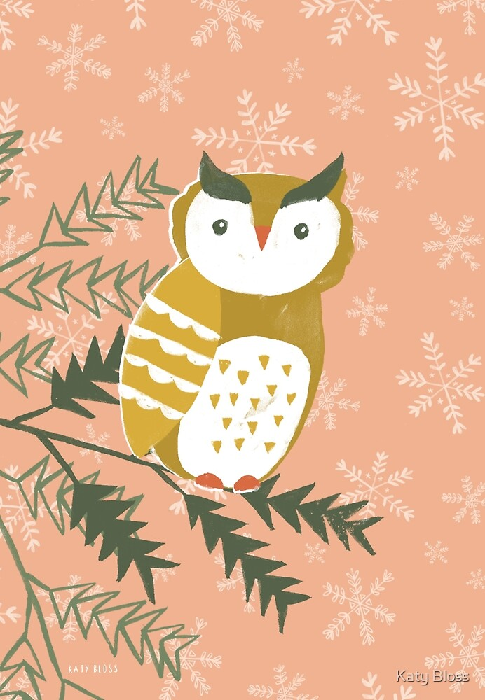 Winter Woodland Owl by Katy Bloss by Katy Bloss