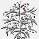 Christmas tree with birds by Julia Keil