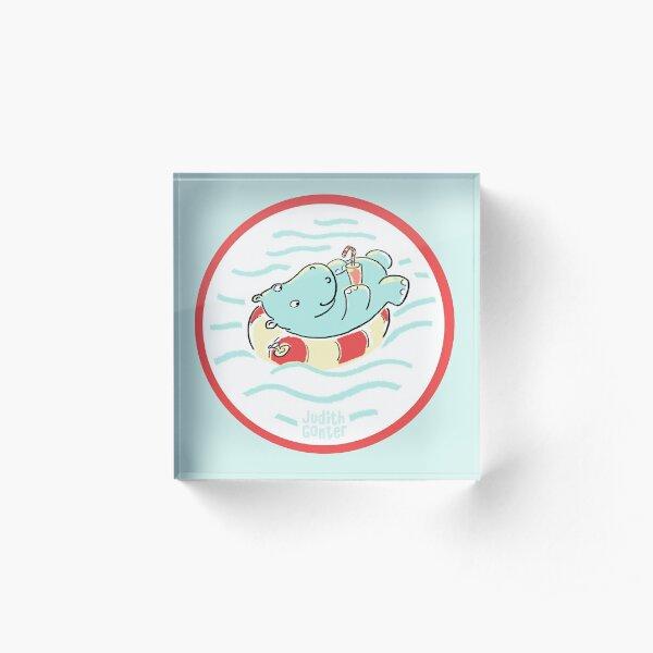Nilpferd im Schwimmreif - Logo Acrylblock