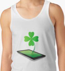 Four- leaf clover - Irish shamrock St Patrick s Day symbol. Green glass clover on white background Tank Top
