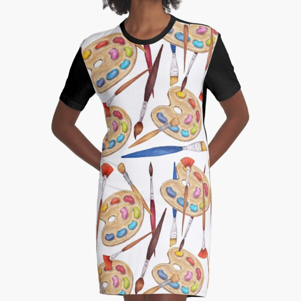 pattern palette with brushes Graphic T-Shirt Dress