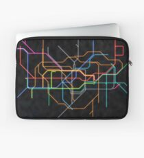 London Underground Tubes Map in Neon Colors Laptop Sleeve