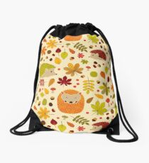 Hedgehogs and Chestnuts Drawstring Bag