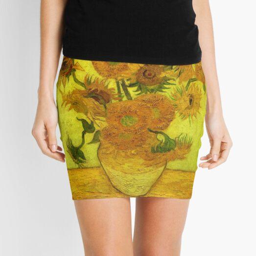 Van Gogh - Fourteen Sunflowers, 1889, famous painting Mini Skirt