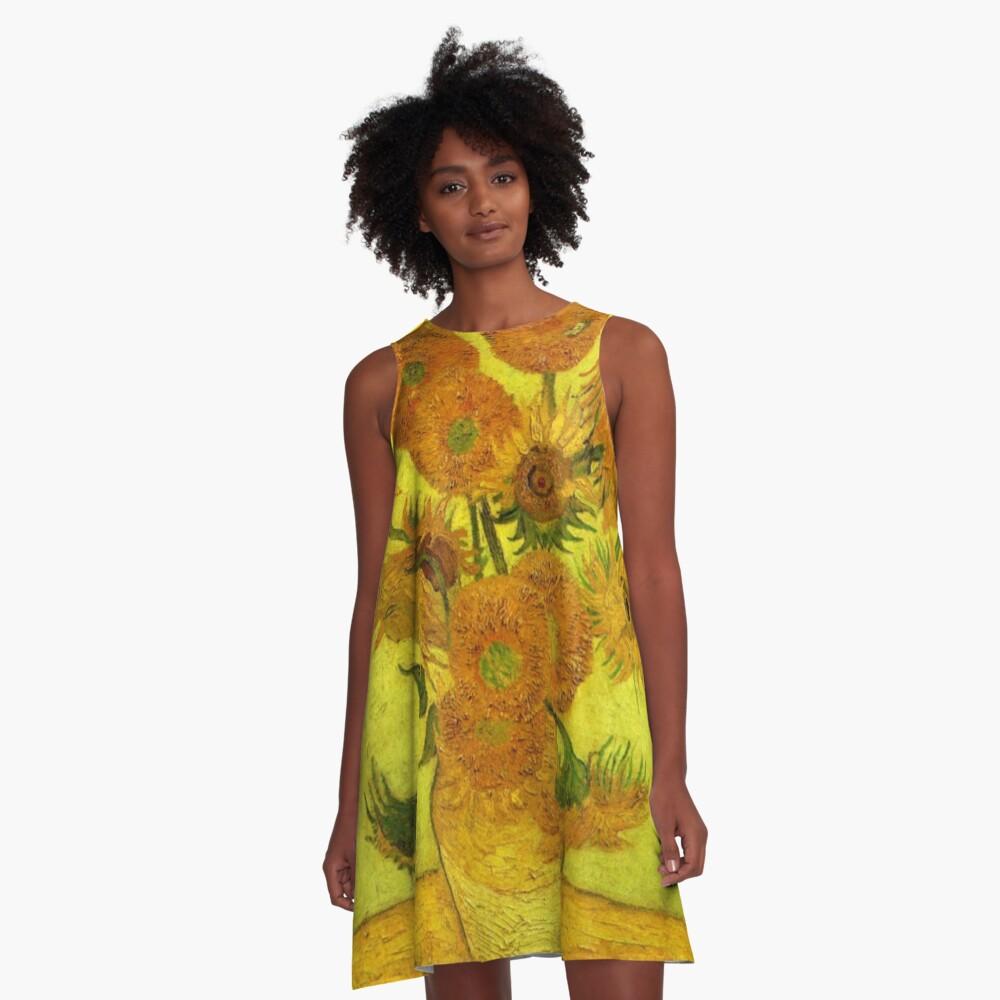 Van Gogh - Fourteen Sunflowers, 1889, famous painting A-Line Dress