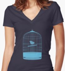 bird in cage Women's Fitted V-Neck T-Shirt