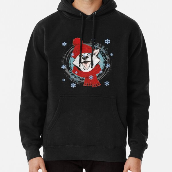 Happy winter husky in warm hat and scarf. Pullover Hoodie