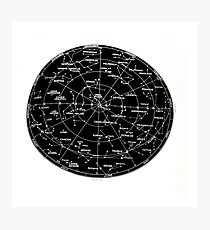 Northern Hemisphere stars and constellation sky map  Photographic Print