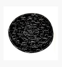 Southern Hemisphere stars and constellation sky map  Photographic Print