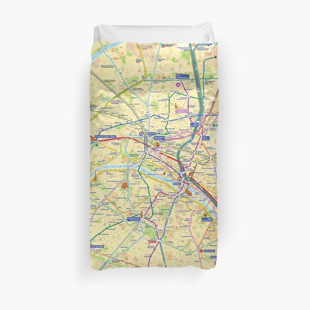 Paris Metro Map - HD - France Duvet Cover