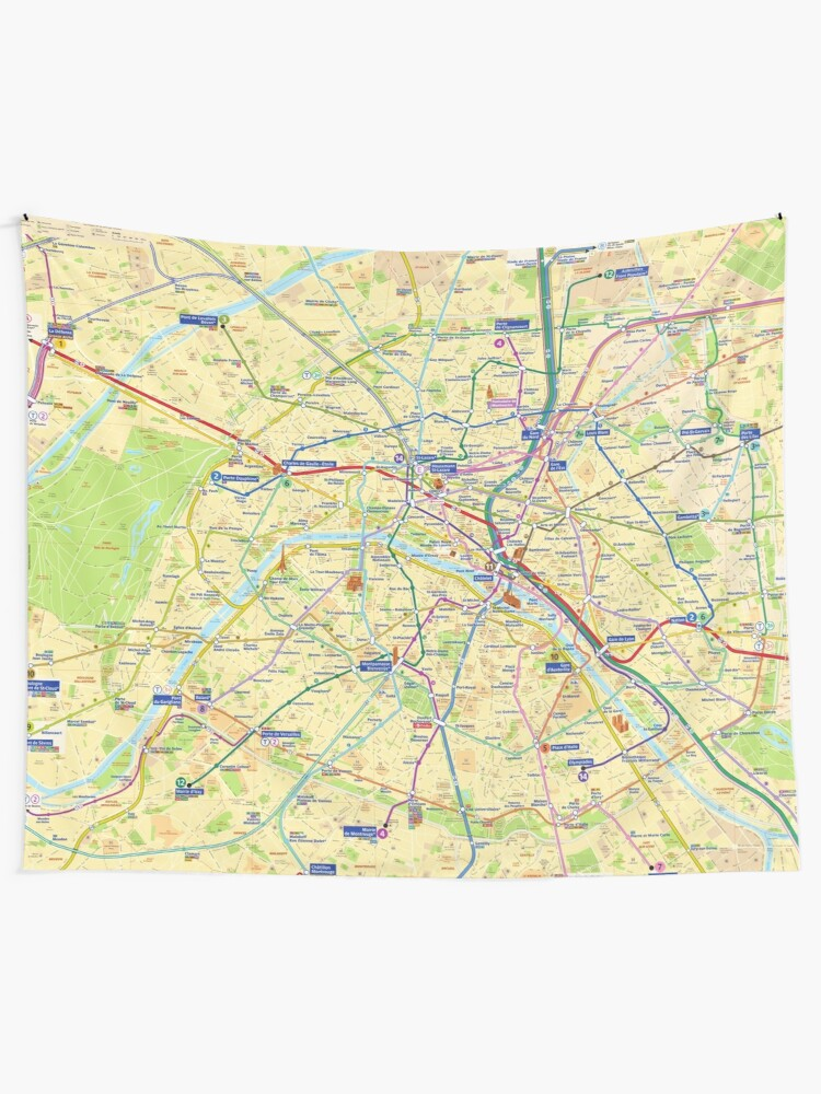 Subway Map Tapestry.Paris Metro Map Hd France Wall Tapestry