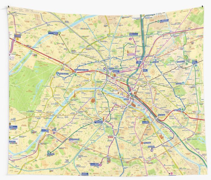 Paris Metro Map Hd France Wall Tapestries By Superfunky Redbubble