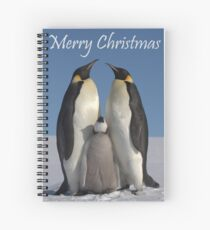Emperor Penguins 1 - Merry Christmas Card Spiral Notebook