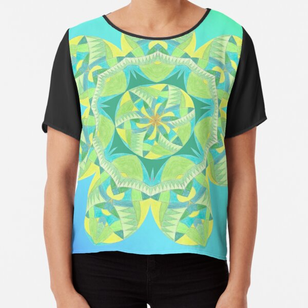 Grasshopper Katydid Leaves and Fauna Fall Into Winter Collection by Green Bee Mee Chiffon Top