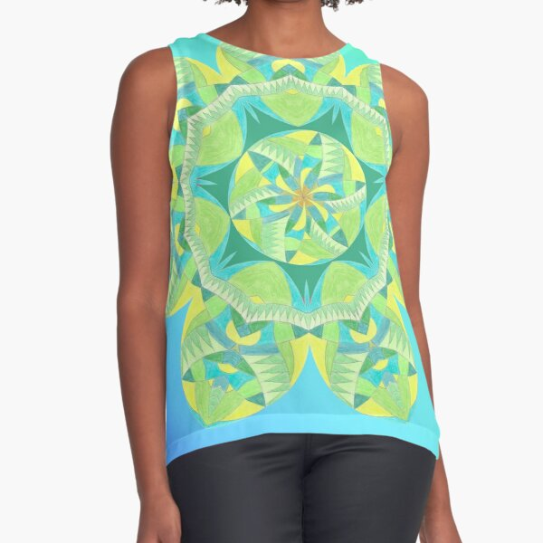 Grasshopper Katydid Leaves and Fauna Fall Into Winter Collection by Green Bee Mee Sleeveless Top