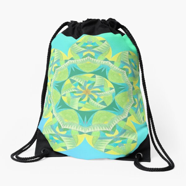 Grasshopper Katydid Leaves and Fauna Fall Into Winter Collection by Green Bee Mee Drawstring Bag