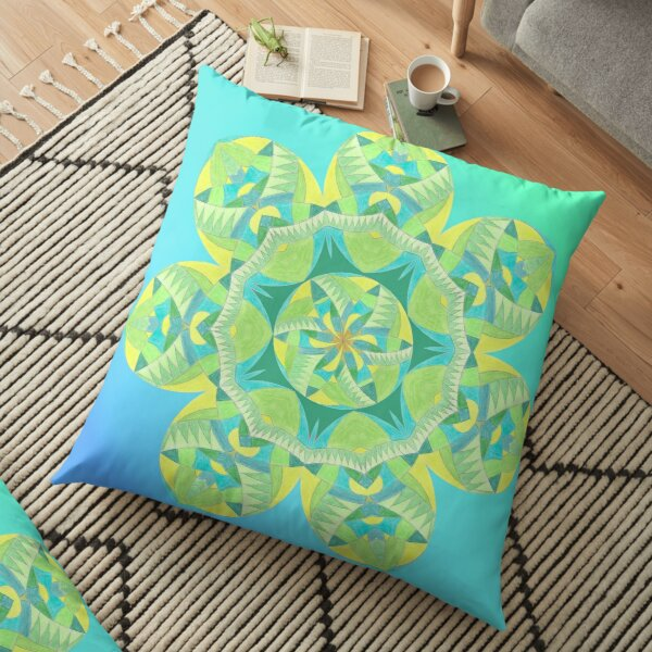 Grasshopper Katydid Leaves and Fauna Fall Into Winter Collection by Green Bee Mee Floor Pillow