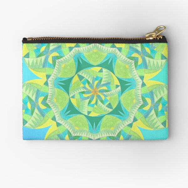 Grasshopper Katydid Leaves and Fauna Fall Into Winter Collection by Green Bee Mee Zipper Pouch