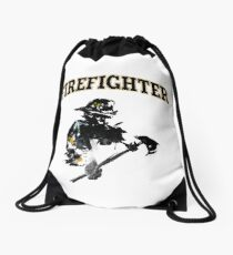 Brush with a Firefighter Drawstring Bag